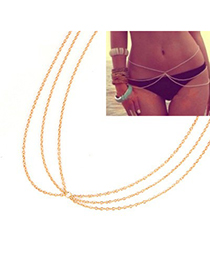 Timeless Gold Three Layer Simple Design Alloy Body Chains