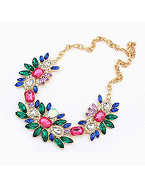 Fingerprin Multicolor Geometric Shape Gemstone Pendant Design Alloy Bib Necklaces