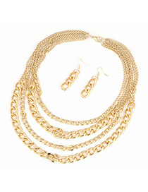 Hurley Gold Color Multilayer Chain Design
