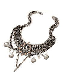 retro beauty Bronze Flower Decorated Hollow Out Design Alloy Bib Necklaces