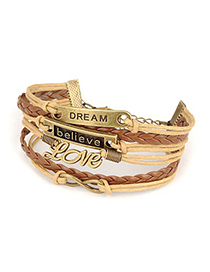 Fashion Coffee Tassel&star Decorated Multi-layer Design Simple Bracelet