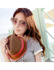 Trendy Light Coffee Hollow Out Two Colors Simple Design Straw Sun Hats
