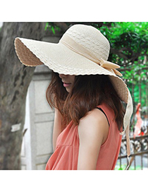 Plaid Beige Wide Large Brim With Big Bowknot Design Straw Sun Hats
