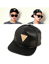 Urban Black Snakeskin Metal Triangle Logo Design PU Baseball Caps