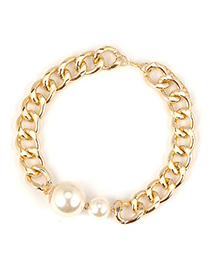 Oversized White Pearl Decorated Chain Design Alloy Chains