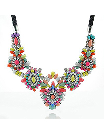 Winter Multicolor Flower Shape Gemstone Decorated Design