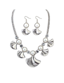 Profession Antique Silver Vintage Pearl Flower Design Alloy Jewelry Sets