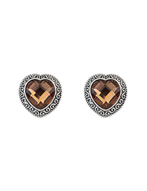 Fashion Dark Coffee Heart Shape Gemstone Design Alloy Stud Earrings