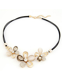 Classical Champagne Gemstone Flower Decorated Design Alloy Bib Necklaces