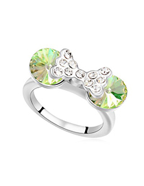 Engraved Luminous Green Diamond Decorated Bowknot Design Austrian Crystal Crystal Rings