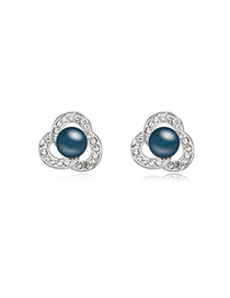 2013 Dark Blue Three-Leaf Clover Shape Design Pearl Crystal Earrings
