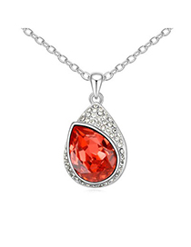2013 Padparadscha Water Drop Shape With Diamond Pendant Design Austrian Crystal Crystal Necklaces