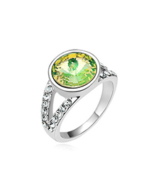 Sparrow Luminous Green Round Shape Simple Design Austrian Crystal Crystal Rings