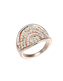 Garnet Color White&Rose Gold Multilayer Bow Shape Diamond Decorated Austrian Crystal Crystal Rings