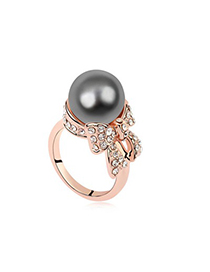 Fingerprin Dark Gray&Rose Gold Pearl Bowknot Decorated Design Pearl Crystal Rings