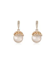 Gorgeous White Bulb Shape Design Opal Crystal Earrings