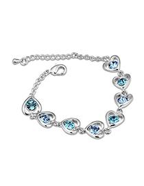 Estate Ocean Blue Heart Linked To Heart Design Austrian Crystal Crystal Bracelets