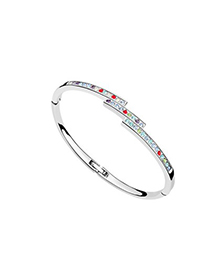 Rugged Multicolor Diamond Decorated Thin Design Austrian Crystal Crystal Bracelets