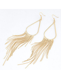 Lush Gold Color Metal Tassel Water Drop Shape Design Alloy Korean Earrings