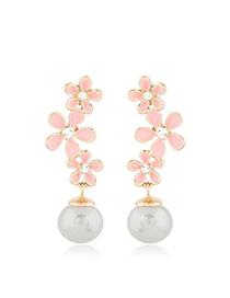 Blank Pink Snowflake Pearl Long Design Alloy Stud Earrings