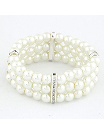 Native Silver Color Three Layers Pearl Weave Design Alloy Korean Fashion Bracelet