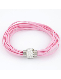 Platinum Pink Bright Ball Decorated Multilayers Exquisite Design Alloy Korean Fashion Bracelet