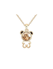 Sanctuary Gold Color Lovely Bear Pendant Austrian crystal Crystal Necklaces