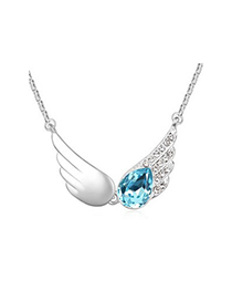 Slim Navy Blue The Wings Of The Angel Pendant Austrian crystal Crystal Necklaces