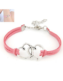 Bespoke Watermelon Red Double Metal Heart Decorated Alloy Korean Fashion Bracelet