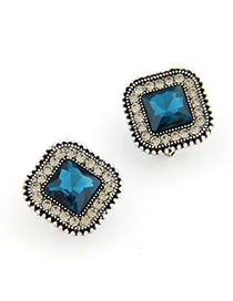 Blank Sapphire blue gemstone decorated square shape design alloy Stud Earrings