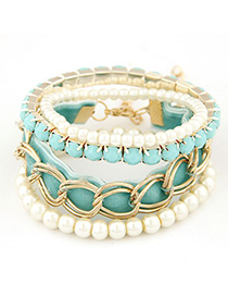 Fit blue metal chains decorated multilayer design alloy Korean Fashion Bracelet