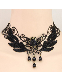 Awesome black gemstone decorated flower design alloy Korean Necklaces