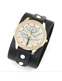 Recycled black diamond decorated tree pattern design pu Ladies Watches