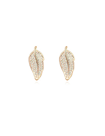 Acrylic white&Champagnegold diamonddecoratedleafshapedesign alloy Crystal Earrings