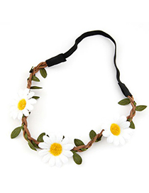 Stretch white flower and leaf decorated simple design string Hair band hair hoop