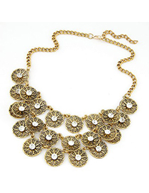 Retro white CZ diamond decorated flower design alloy Korean Necklaces