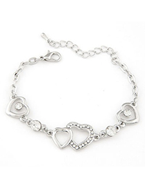 Claddagh silver color CZ diamond decorated Heart to heart design alloy Korean Fashion Bracelet