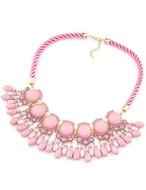 Decorative pink gemstone decorated Fan-shaped tassel design alloy Bib Necklaces