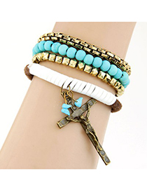 Baggy blue Cross decorated multilayer design alloy Korean Fashion Bracelet