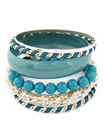 Homemade blue beads decorated multi-level design alloy Fashion Bangles