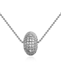 Streamline white diamond decorated round shape design zircon Crystal Necklaces