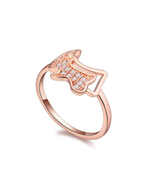 Retro white & rose gold diamond decorated dog shape design zircon Crystal Rings