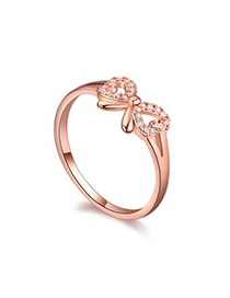 Beauteous white & rose gold diamond decorated bowknot shape design zircon Crystal Rings