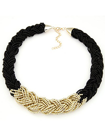Lined black beads weave simple design