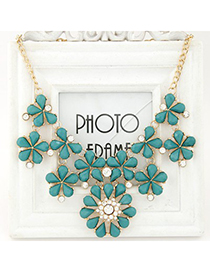 Convertibl blue gemstone decorated flower design alloy Bib Necklaces