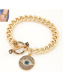 Hurley gold color diamond decorated eye pattern design alloy Korean Fashion Bracelet