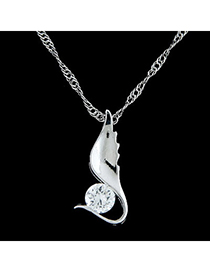 Fashion silver color diamond decorated angel wings shape pendant design alloy Chains