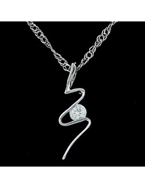 Pewter silver color diamond decorated bending shape pendant design alloy Chains