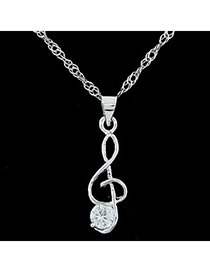 Direct silver color diamond decorated note shape pendant design alloy Bib Necklaces
