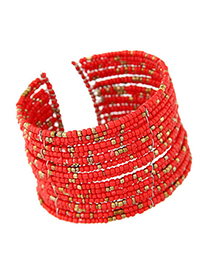 Native red beads decorated multi-layer design alloy Fashion Bangles